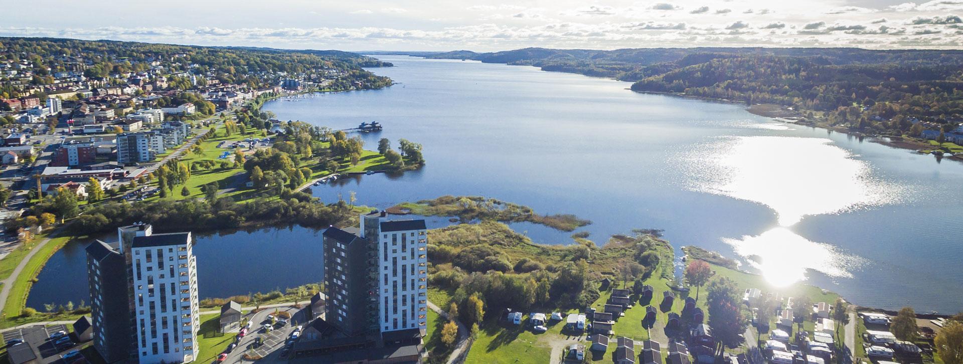 Ulricehamn och Åsunden från ovan