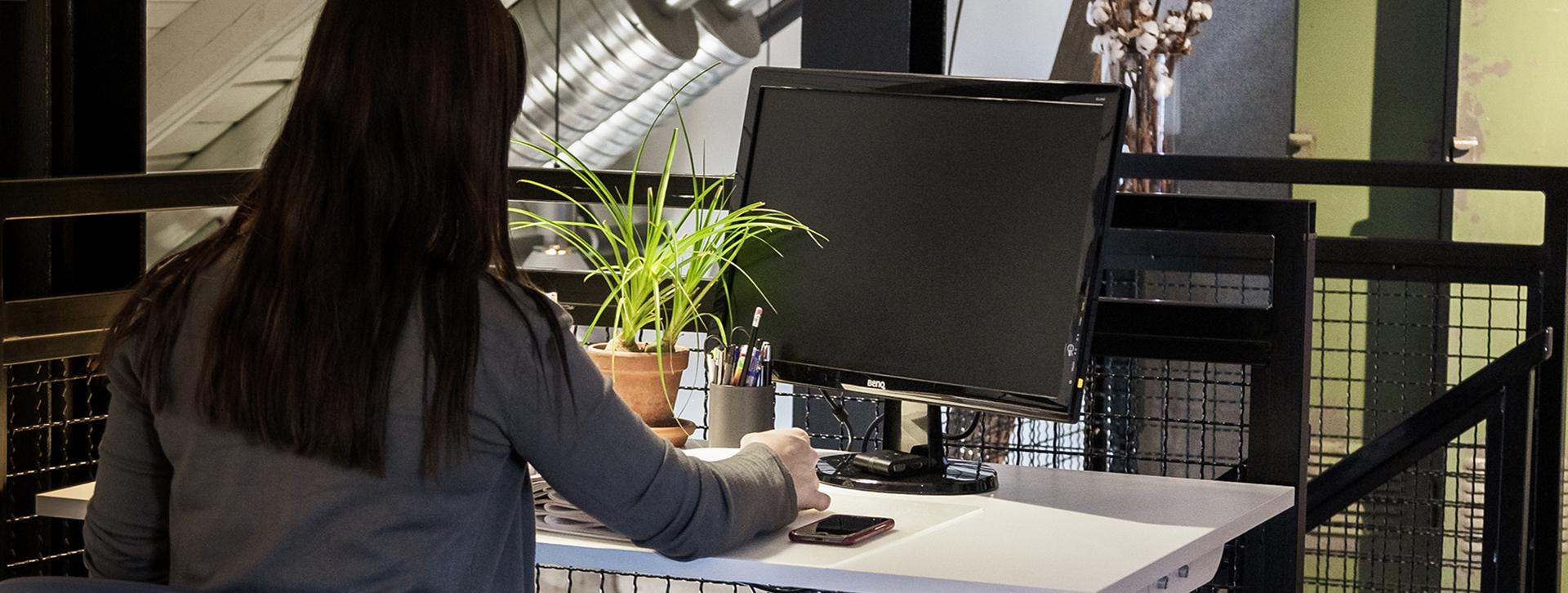 Att vara företagare - En kvinna sitter och arbetar vid en dator