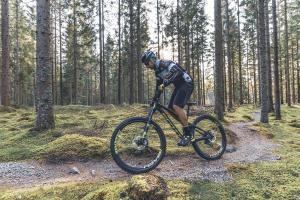 Man som cyklar i skogen